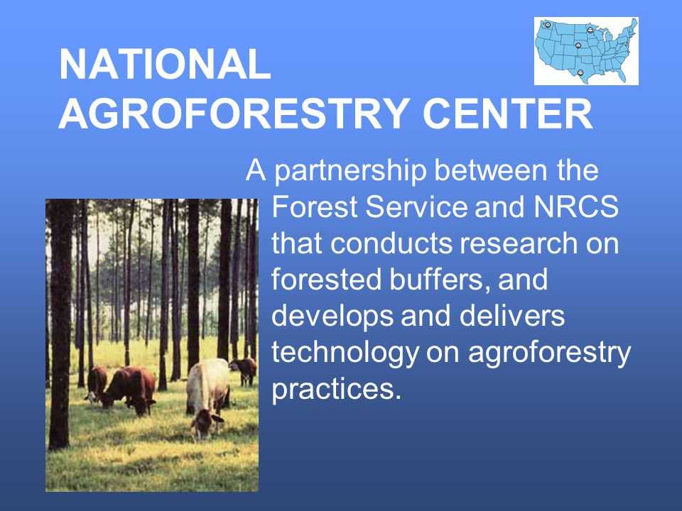 NATIONAL AGROFORESTRY CENTER A partnership between the Forest Service and NRCS that conducts research on forested buffers, and develops and delivers technology on agroforestry practices.