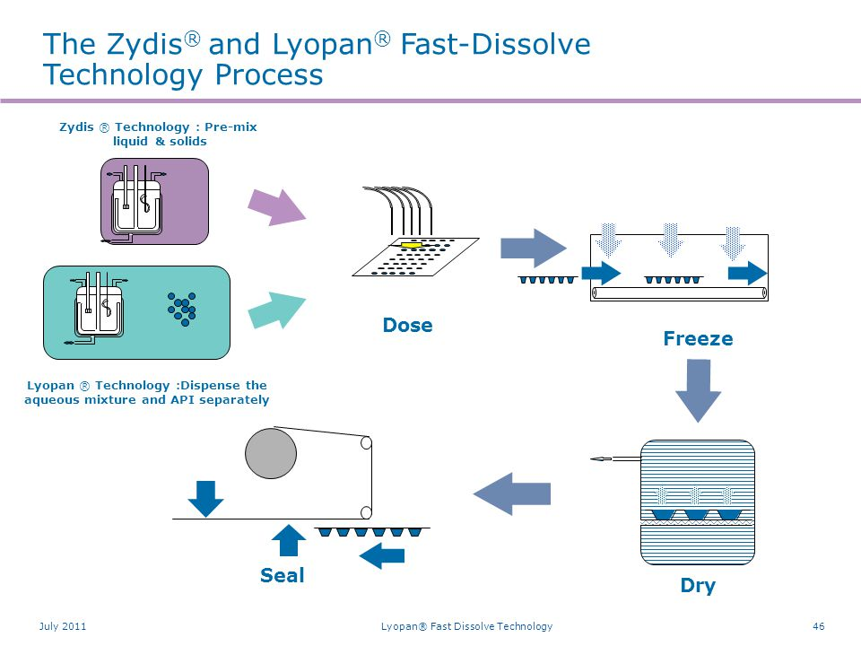 46 Dry Seal Freeze Zydis ® Technology : Pre-mix liquid & solids Dose The Zydis ® and Lyopan ® Fast-Dissolve Technology Process Lyopan ® Technology :Di