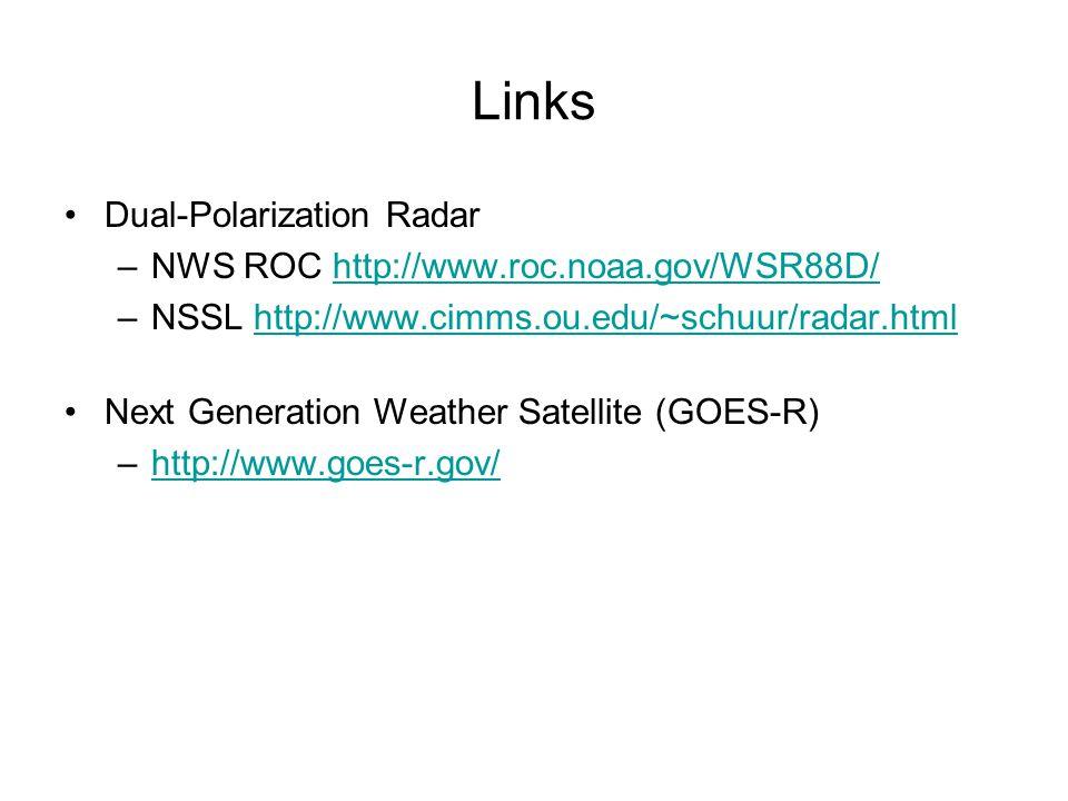 Links Dual-Polarization Radar –NWS ROC http://www.roc.noaa.gov/WSR88D/http://www.roc.noaa.gov/WSR88D/ –NSSL http://www.cimms.ou.edu/~schuur/radar.htmlhttp://www.cimms.ou.edu/~schuur/radar.html Next Generation Weather Satellite (GOES-R) –http://www.goes-r.gov/http://www.goes-r.gov/