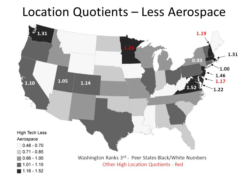 Washington Ranks 3 rd - Peer States Black/White Numbers Other High Location Quotients - Red 1.31 1.10 1.05 1.14 1.24 1.19 1.31 1.00 0.93 1.46 1.17 1.22 1.52 Location Quotients – Less Aerospace