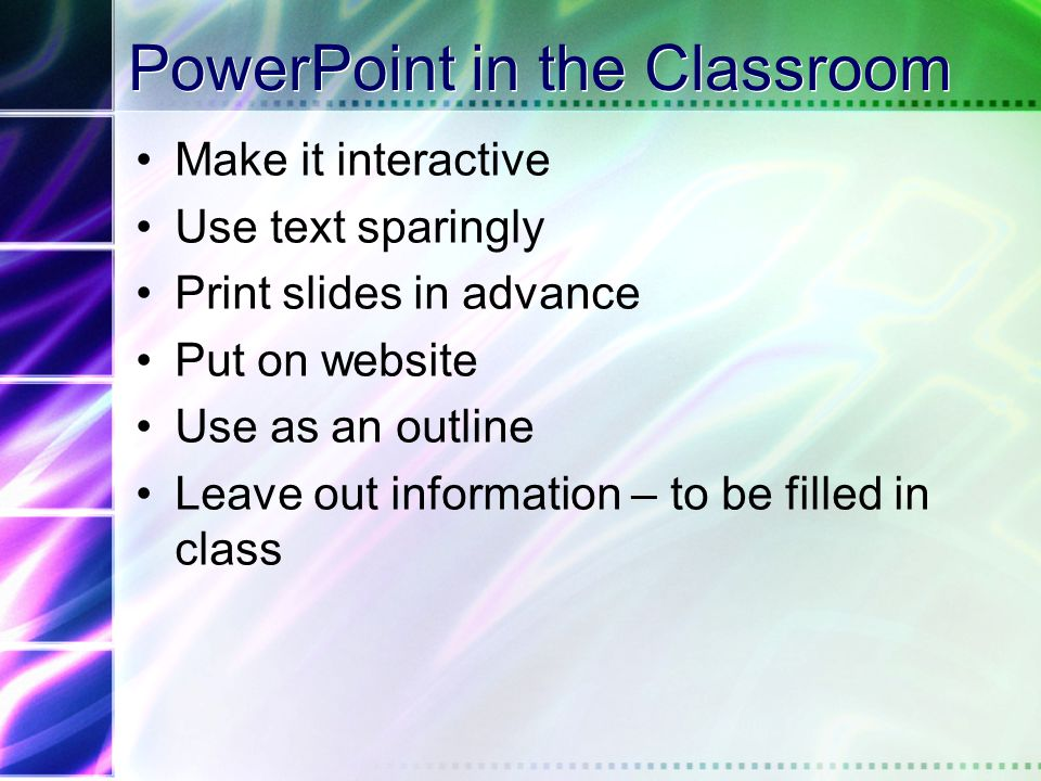 Preparing Materials Use notes Prepare handouts Can use PowerPoint for transparency handouts