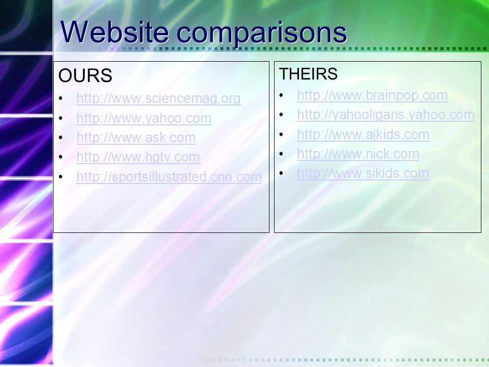 Pop Quiz Web site comparisons –Which of each pair of Web sites is designed for younger learners, which is designed for us?