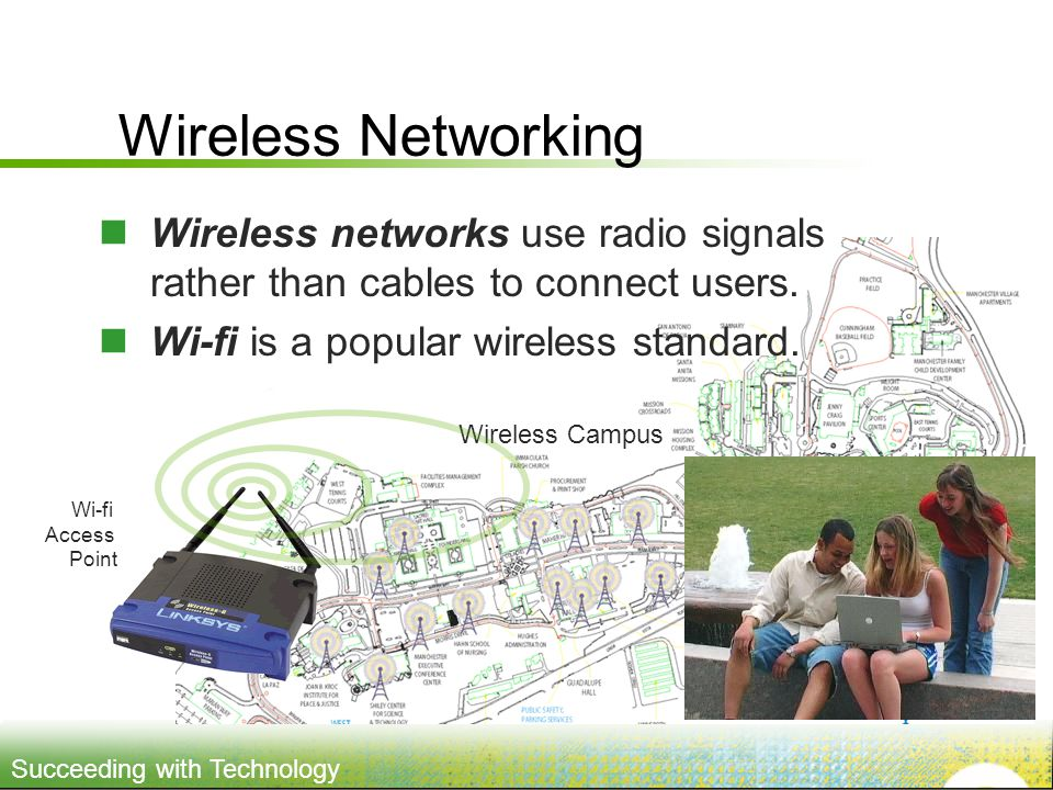Succeeding with Technology Wireless Campus Wireless Networking Wireless networks use radio signals rather than cables to connect users.