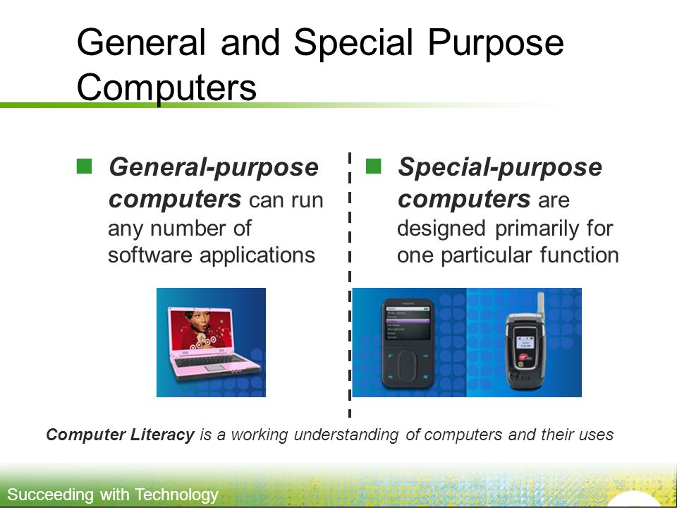 Succeeding with Technology General and Special Purpose Computers General-purpose computers can run any number of software applications Special-purpose computers are designed primarily for one particular function Computer Literacy is a working understanding of computers and their uses