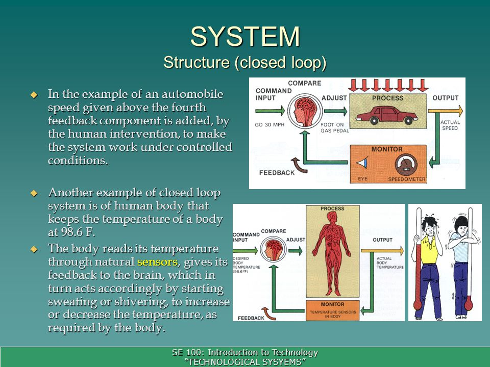 SE 100: Introduction to Technology TECHNOLOGICAL SYSYEMS SYSTEM Structure (closed loop) In the example of an automobile speed given above the fourth feedback component is added, by the human intervention, to make the system work under controlled conditions.