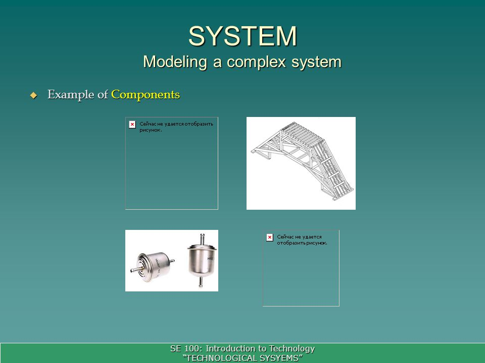 SE 100: Introduction to Technology TECHNOLOGICAL SYSYEMS Example of Components Example of Components SYSTEM Modeling a complex system
