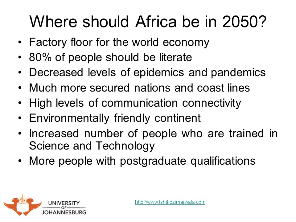 Where should Africa be in 2050.