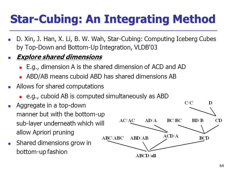 64 Star-Cubing: An Integrating Method D. Xin, J. Han, X. Li, B. W. Wah, Star-Cubing: Computing Iceberg Cubes by Top-Down and Bottom-Up Integration, VL