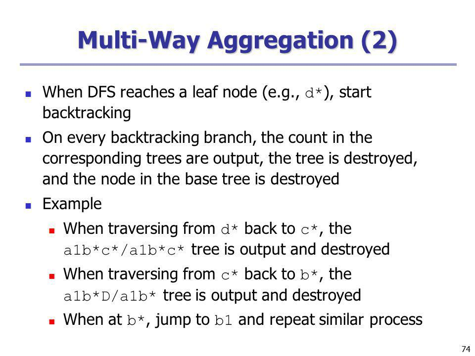 74 Multi-Way Aggregation (2) When DFS reaches a leaf node (e.g., d* ), start backtracking On every backtracking branch, the count in the corresponding