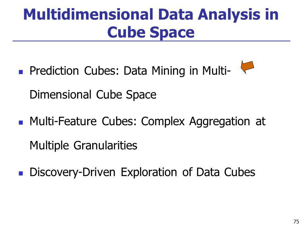 75 Multidimensional Data Analysis in Cube Space Prediction Cubes: Data Mining in Multi- Dimensional Cube Space Multi-Feature Cubes: Complex Aggregatio