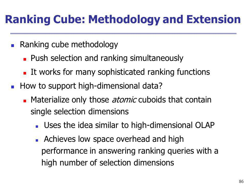86 Ranking Cube: Methodology and Extension Ranking cube methodology Push selection and ranking simultaneously It works for many sophisticated ranking