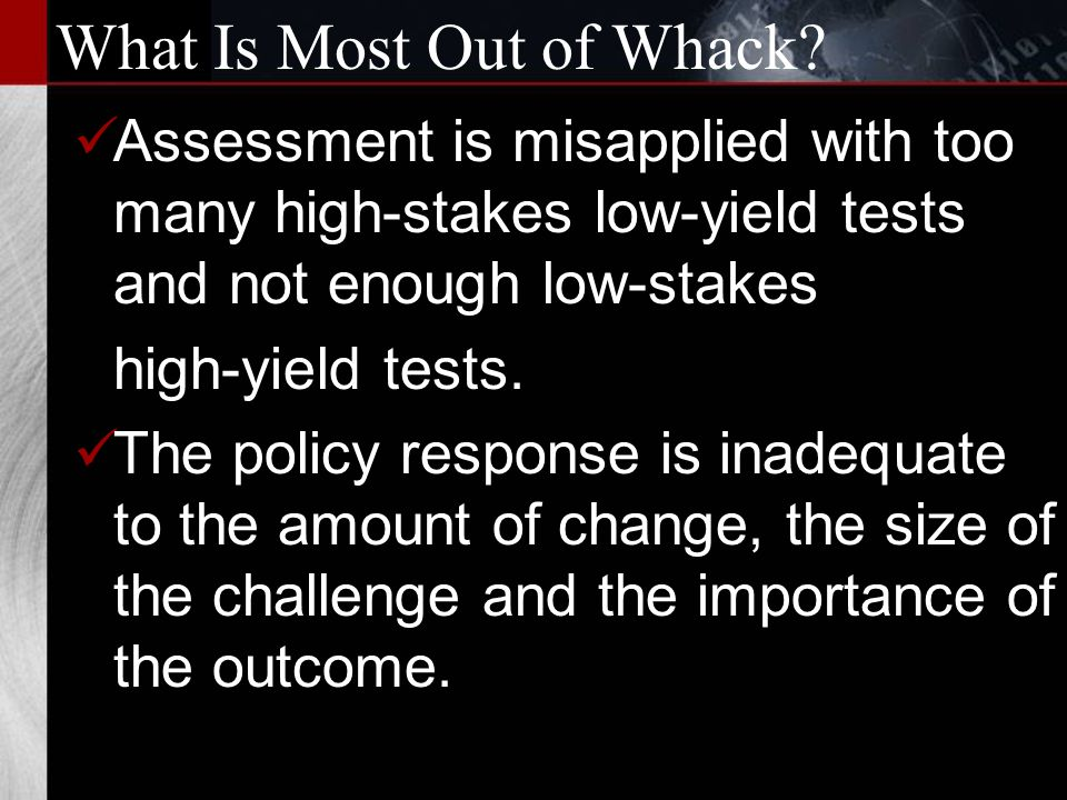 What Is Most Out of Whack.