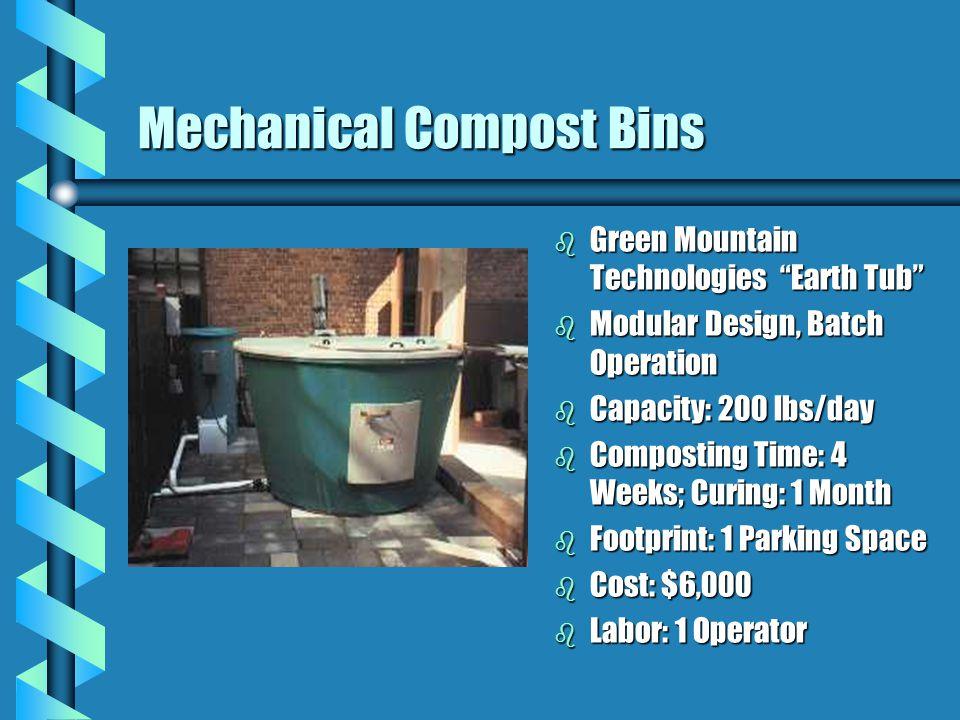 Mechanical Compost Bins b Green Mountain Technologies Earth Tub b Modular Design, Batch Operation b Capacity: 200 lbs/day b Composting Time: 4 Weeks; Curing: 1 Month b Footprint: 1 Parking Space b Cost: $6,000 b Labor: 1 Operator