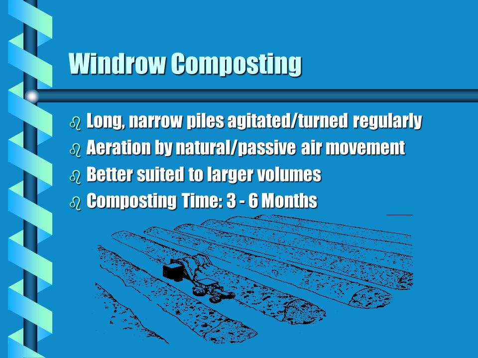 Windrow Composting b Long, narrow piles agitated/turned regularly b Aeration by natural/passive air movement b Better suited to larger volumes b Composting Time: 3 - 6 Months