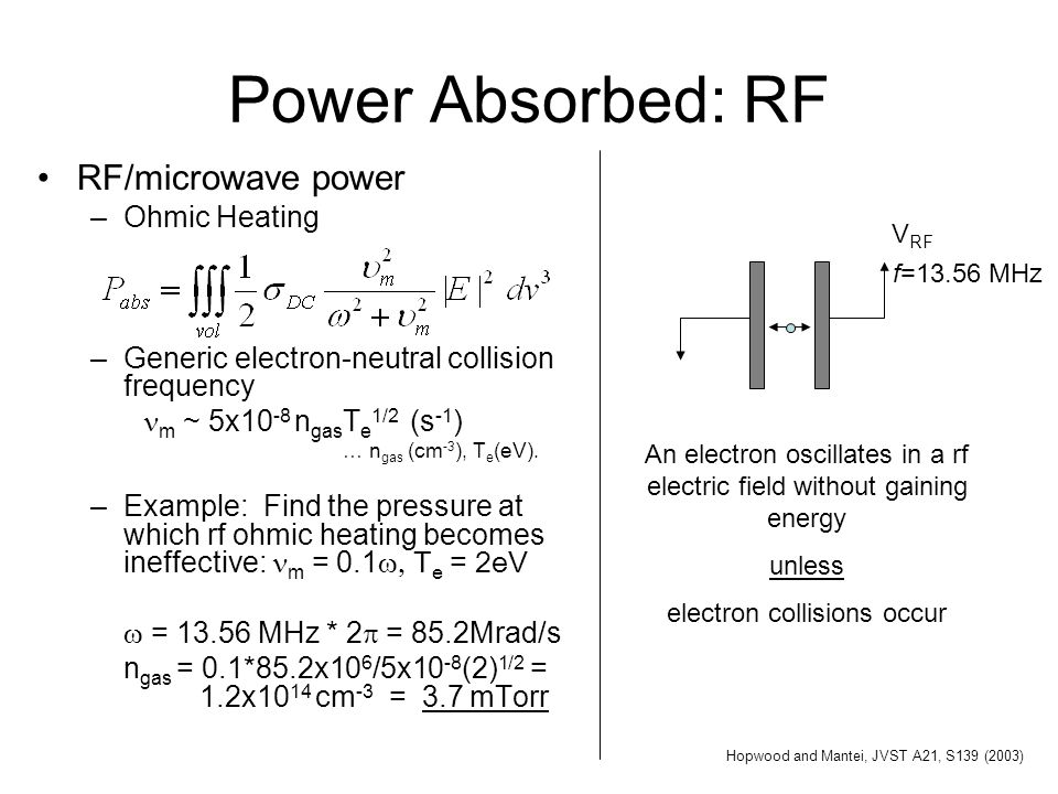 Power Absorbed: RF RF/microwave power –Ohmic Heating –Generic electron-neutral collision frequency m ~ 5x10 -8 n gas T e 1/2 (s -1 ) … n gas (cm -3 ),