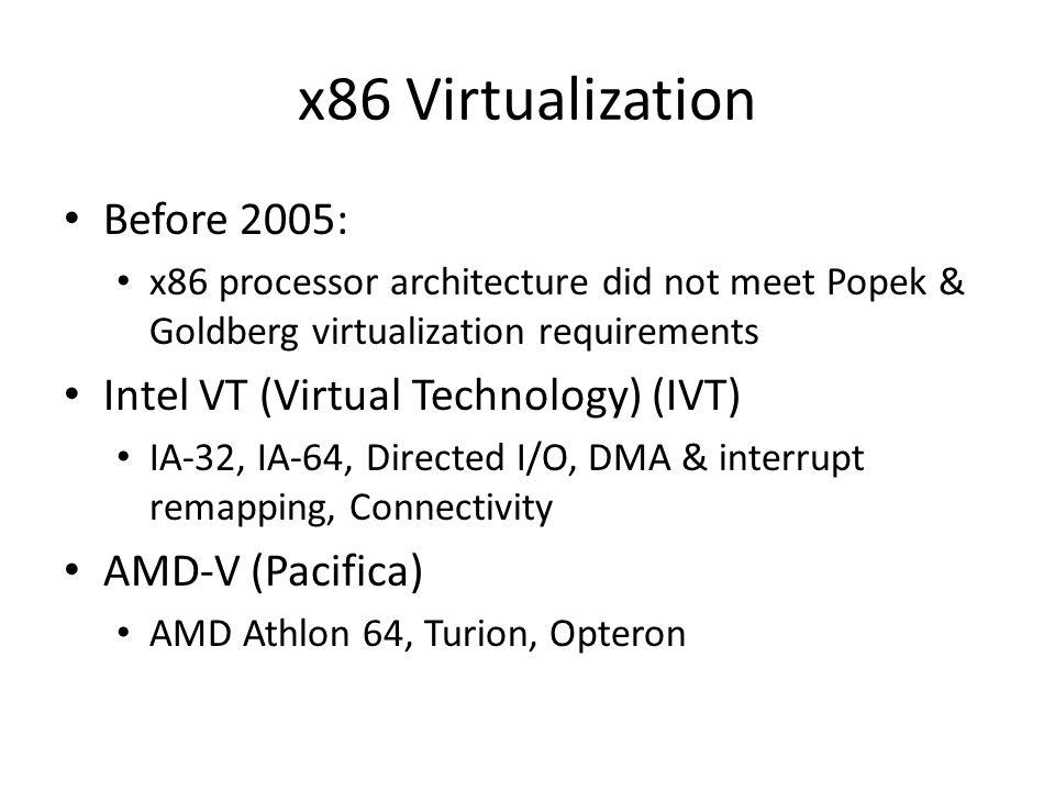 x86 Virtualization Before 2005: x86 processor architecture did not meet Popek & Goldberg virtualization requirements Intel VT (Virtual Technology) (IV