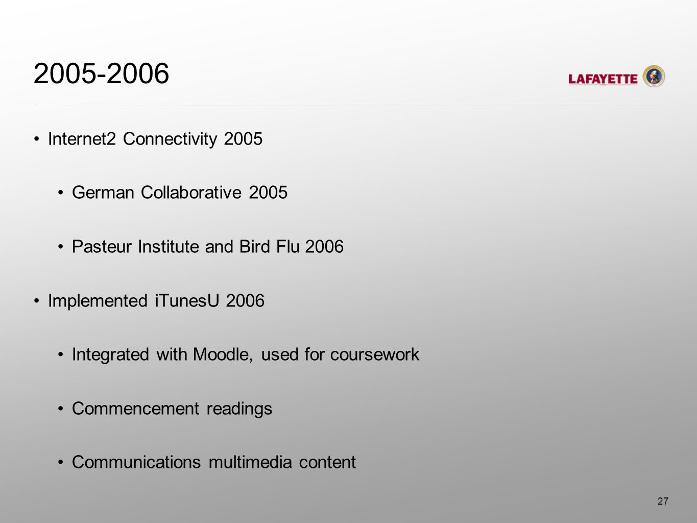 2005-2006 Internet2 Connectivity 2005 German Collaborative 2005 Pasteur Institute and Bird Flu 2006 Implemented iTunesU 2006 Integrated with Moodle, u