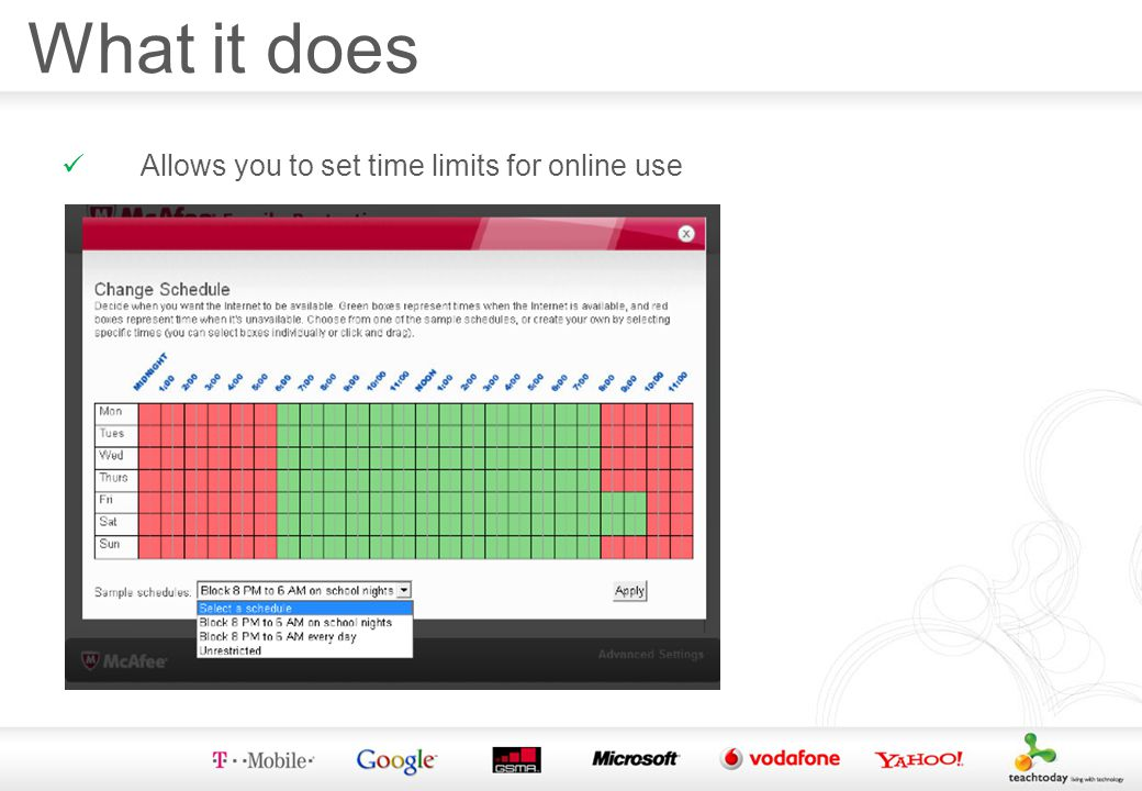 What it does Allows you to set time limits for online use