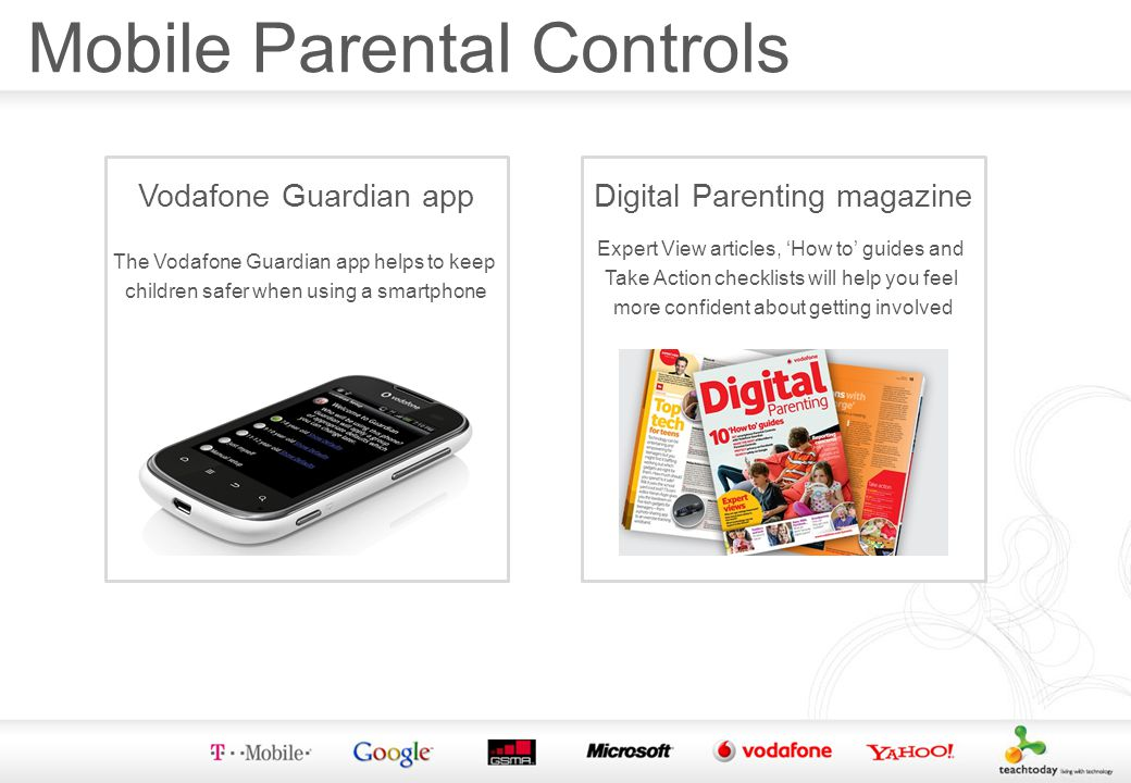 Vodafone Guardian app The Vodafone Guardian app helps to keep children safer when using a smartphone Digital Parenting magazine Expert View articles, How to guides and Take Action checklists will help you feel more confident about getting involved Mobile Parental Controls