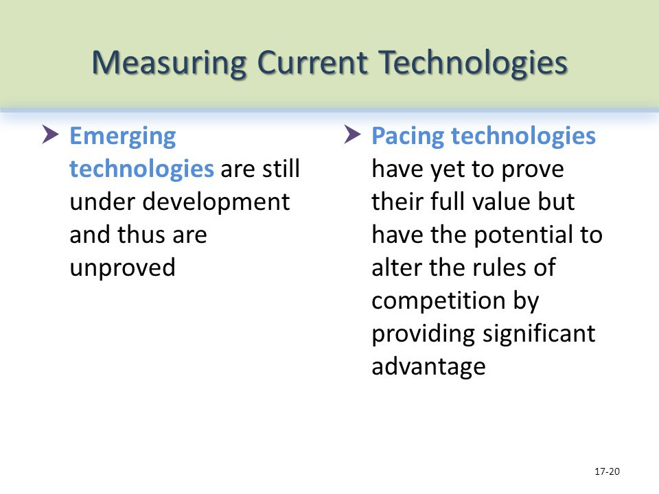 Measuring Current Technologies Emerging technologies are still under development and thus are unproved Pacing technologies have yet to prove their ful