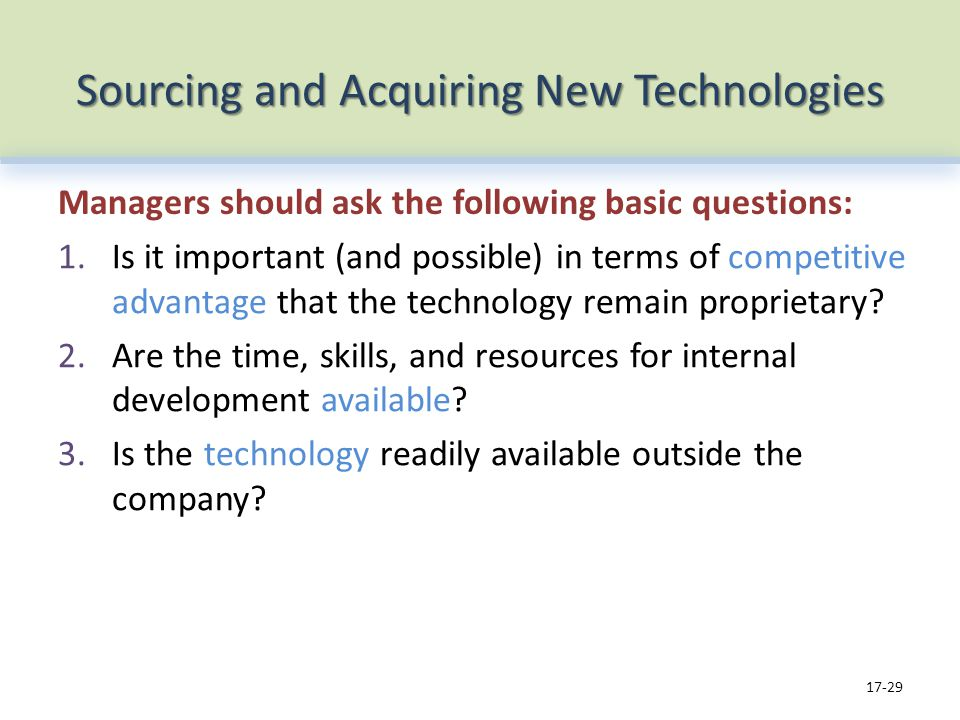 Sourcing and Acquiring New Technologies Managers should ask the following basic questions: 1.Is it important (and possible) in terms of competitive advantage that the technology remain proprietary.