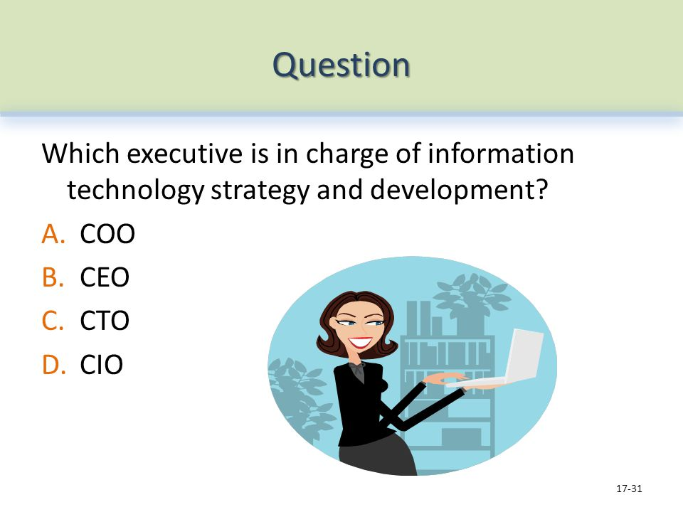 Question Which executive is in charge of information technology strategy and development.