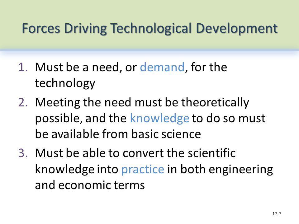 Forces Driving Technological Development 1.Must be a need, or demand, for the technology 2.Meeting the need must be theoretically possible, and the knowledge to do so must be available from basic science 3.Must be able to convert the scientific knowledge into practice in both engineering and economic terms 17-7