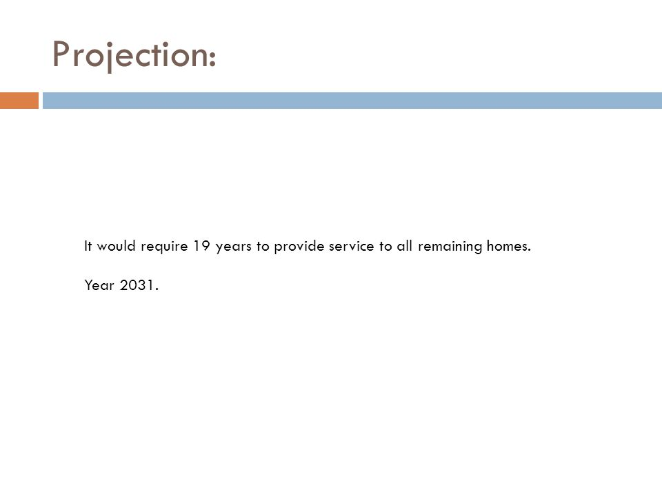 Projection: It would require 19 years to provide service to all remaining homes. Year 2031.