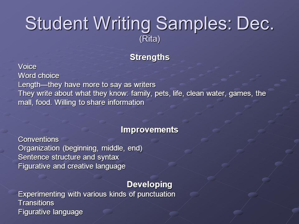 Student Writing Samples: Dec.