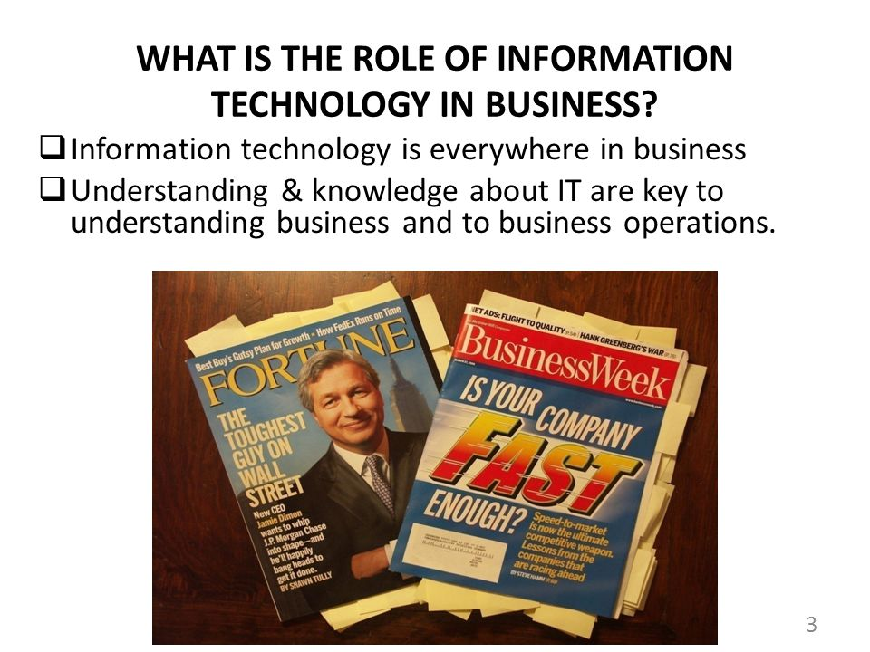 WHAT IS THE ROLE OF INFORMATION TECHNOLOGY IN BUSINESS.