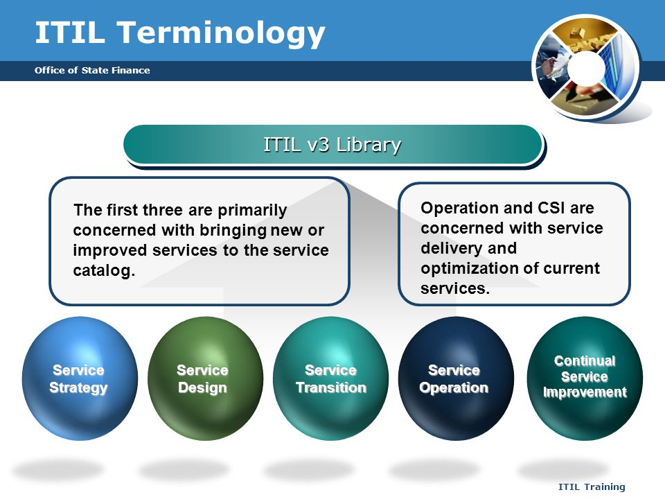Office of State Finance ITIL Training ITIL Terminology ITIL v3 Library The first three are primarily concerned with bringing new or improved services