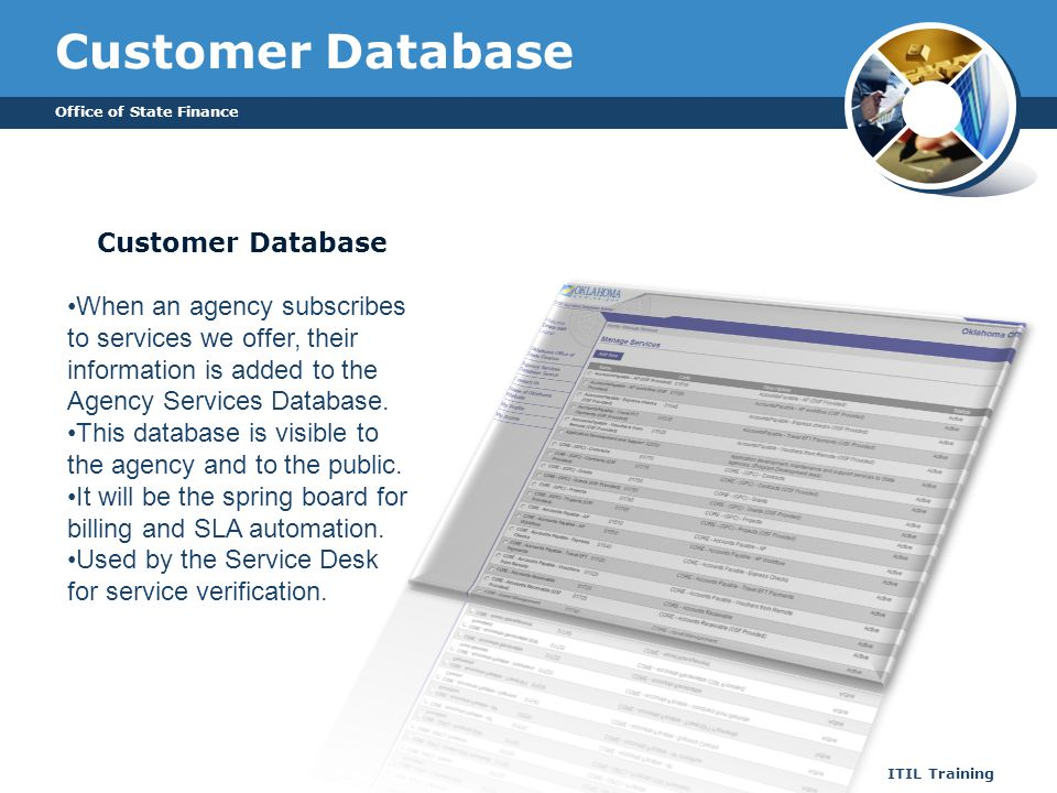 Customer Database Office of State Finance ITIL Training Customer Database When an agency subscribes to services we offer, their information is added t