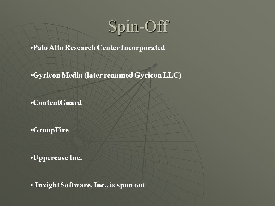 Spin-Off Palo Alto Research Center Incorporated Gyricon Media (later renamed Gyricon LLC) ContentGuard GroupFire Uppercase Inc.