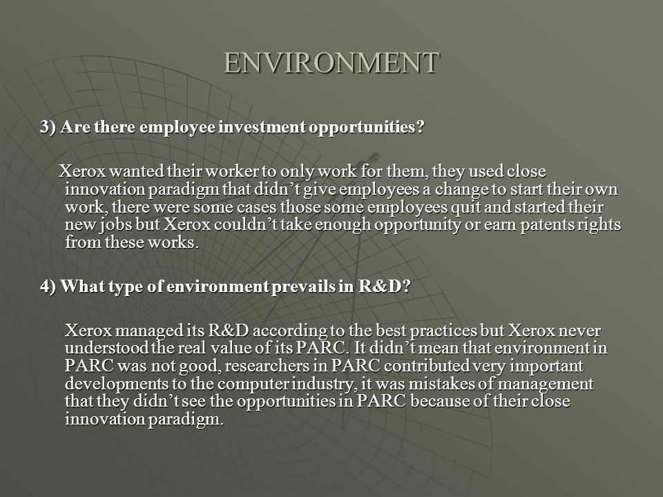 ENVIRONMENT 3) Are there employee investment opportunities.