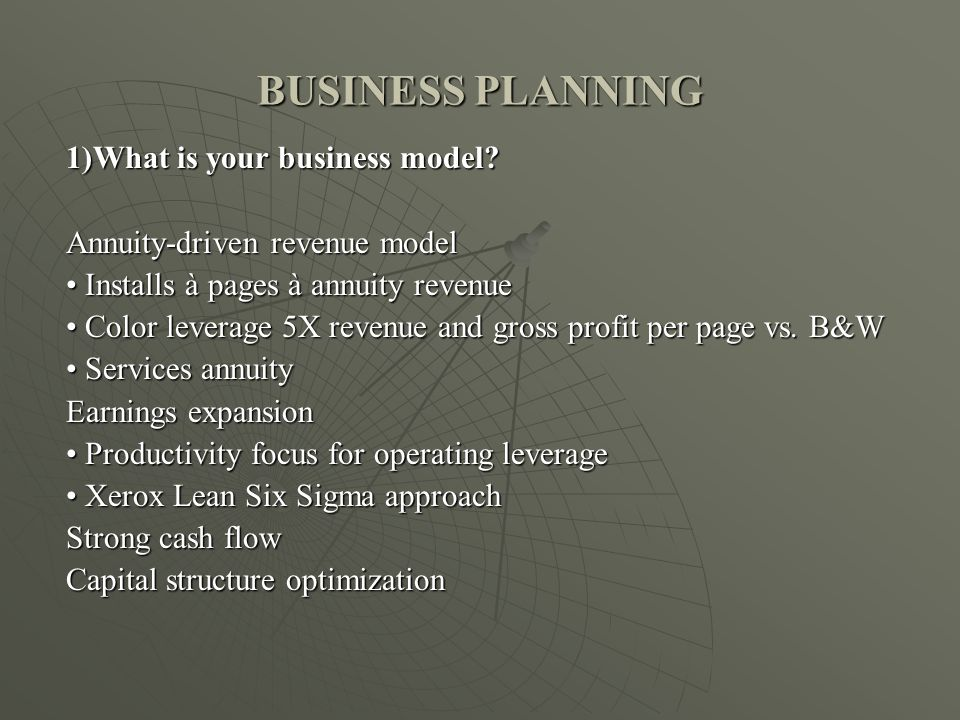 BUSINESS PLANNING 1)What is your business model.