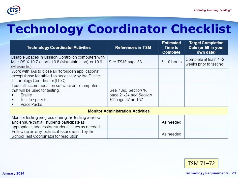 Technology Coordinator Checklist TSM 71–72 January 2014 Technology Requirements | 29 Technology Coordinator ActivitiesReferences in TSM Estimated Time to Complete Target Completion Date (or fill in your own date) Disable Spaces in Mission Control on computers with Mac OS X 10.7 (Lion), 10.8 (Mountain Lion), or 10.9 (Mavericks).