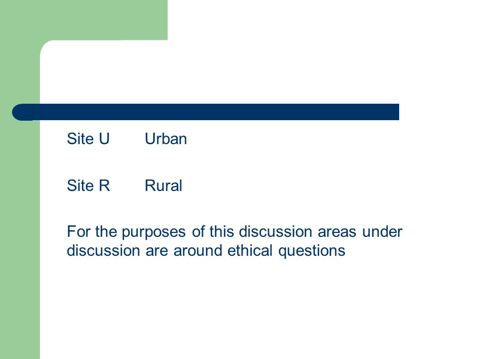Site UUrban Site R Rural For the purposes of this discussion areas under discussion are around ethical questions