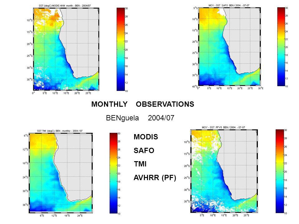 MONTHLY OBSERVATIONS BENguela 2004/07 MODIS SAFO TMI AVHRR (PF)