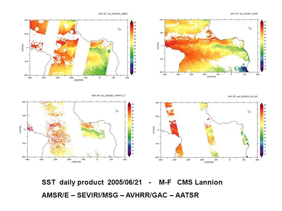 SST daily product 2005/06/21 - M-F CMS Lannion AMSR/E – SEVIRI/MSG – AVHRR/GAC – AATSR