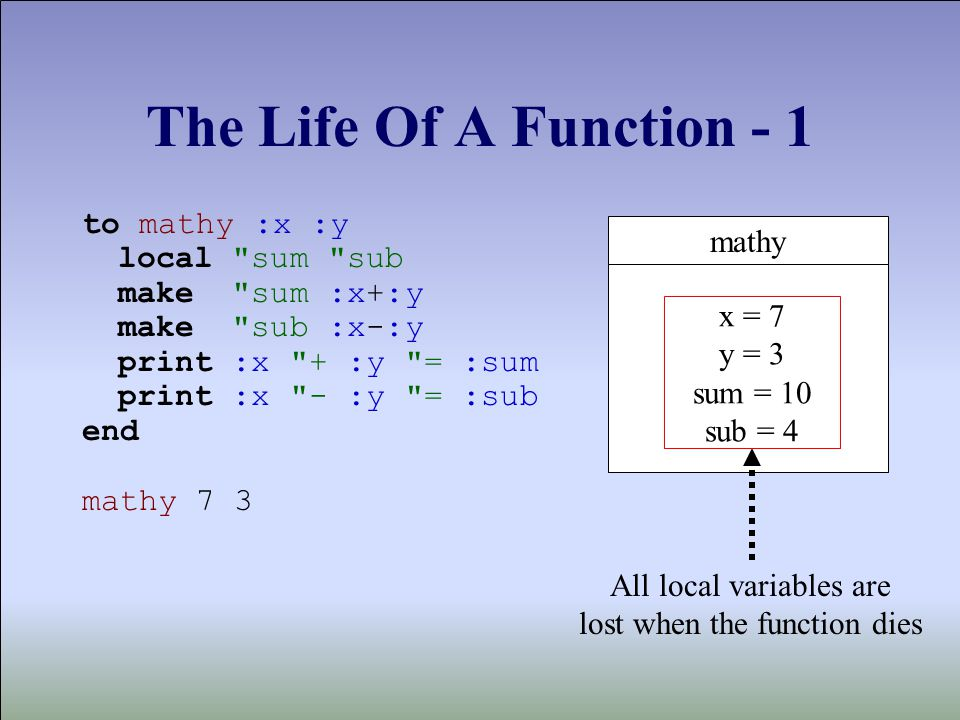 The Life Of A Function - 1 to mathy :x :y local sum sub make sum :x+:y make sub :x-:y print :x + :y = :sum print :x - :y = :sub end mathy 7 3 mathy All local variables are lost when the function dies x = 7 y = 3 sum = 10 sub = 4
