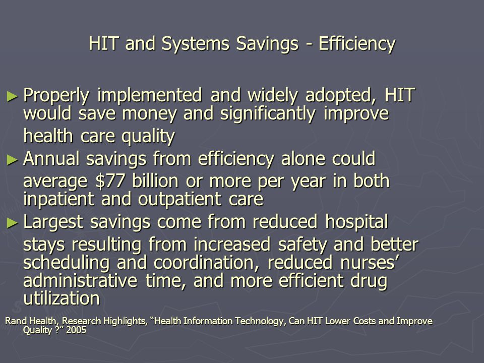 HIE Enabled Chronic Care Management Improves diagnostic accuracy by providing prompts, alerts and reminders built around evidence based guidelines and real time Improves diagnostic accuracy by providing prompts, alerts and reminders built around evidence based guidelines and real time clinical knowledge Reduces adverse drug interactions and Reduces adverse drug interactions and dosing complications, permits the PCP to monitor script refills, avoid hospital utilization, and improve treatment plan adherence Coordinating Chronic Care Management through HIEs, Deloitte Center for Health Solutions.2007 Coordinating Chronic Care Management through HIEs, Deloitte Center for Health Solutions.2007