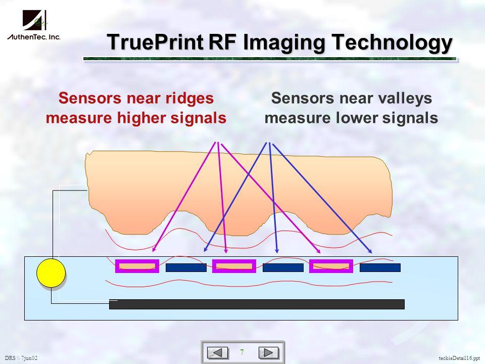 DRS \\ 7jun02 7 techieDetail16.ppt Sensors near ridges measure higher signals Sensors near valleys measure lower signals TruePrint RF Imaging Technology
