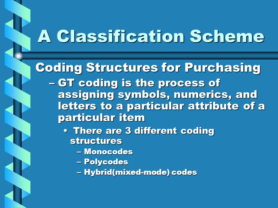 A Classification Scheme Coding Structures for Purchasing –GT coding is the process of assigning symbols, numerics, and letters to a particular attribu