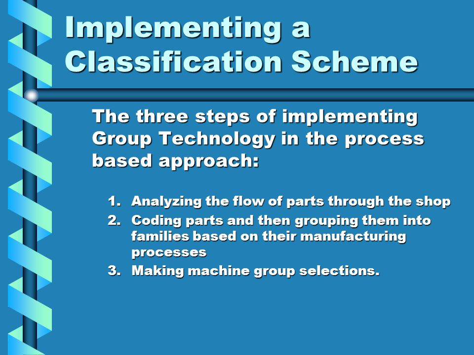 Implementing a Classification Scheme The three steps of implementing Group Technology in the process based approach: 1.Analyzing the flow of parts thr