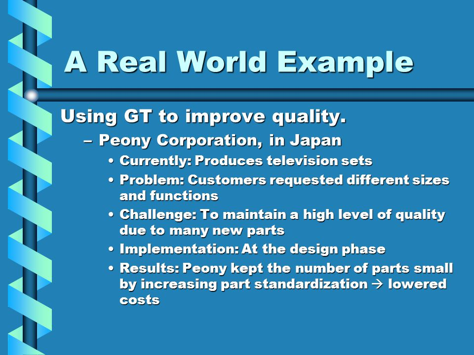 A Real World Example Using GT to improve quality. –Peony Corporation, in Japan Currently: Produces television setsCurrently: Produces television sets