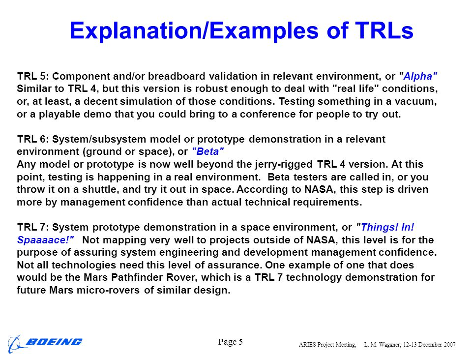 ARIES Project Meeting, L. M. Waganer, 12-13 December 2007 Page 5 Explanation/Examples of TRLs TRL 5: Component and/or breadboard validation in relevan