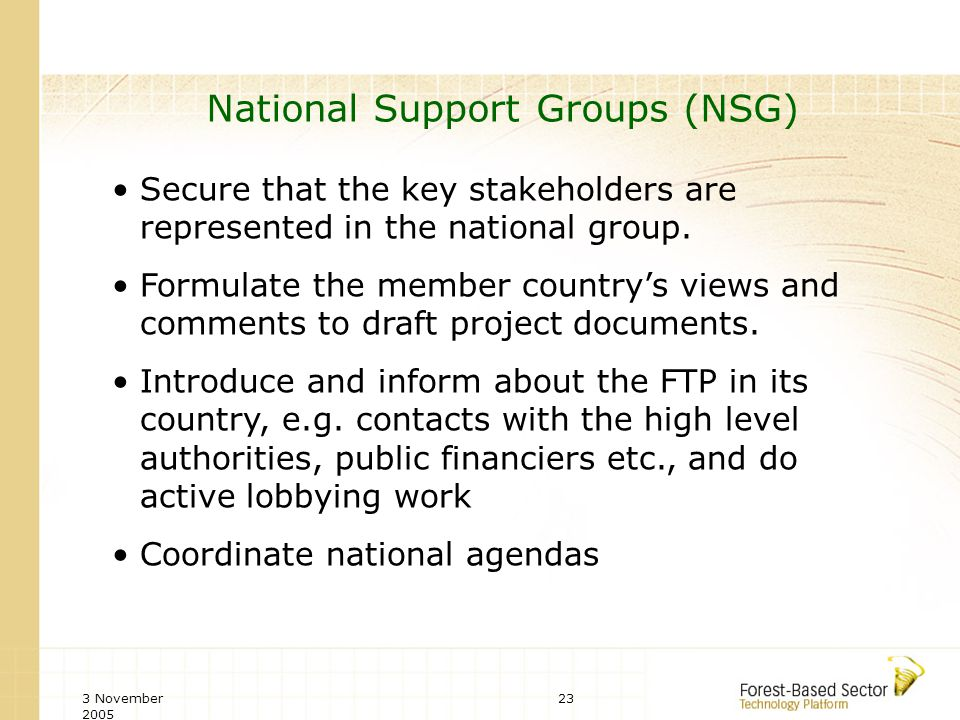 3 November 2005 23 National Support Groups (NSG) Secure that the key stakeholders are represented in the national group.