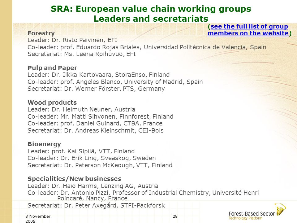3 November 2005 28 SRA: European value chain working groups Leaders and secretariats Forestry Leader: Dr.