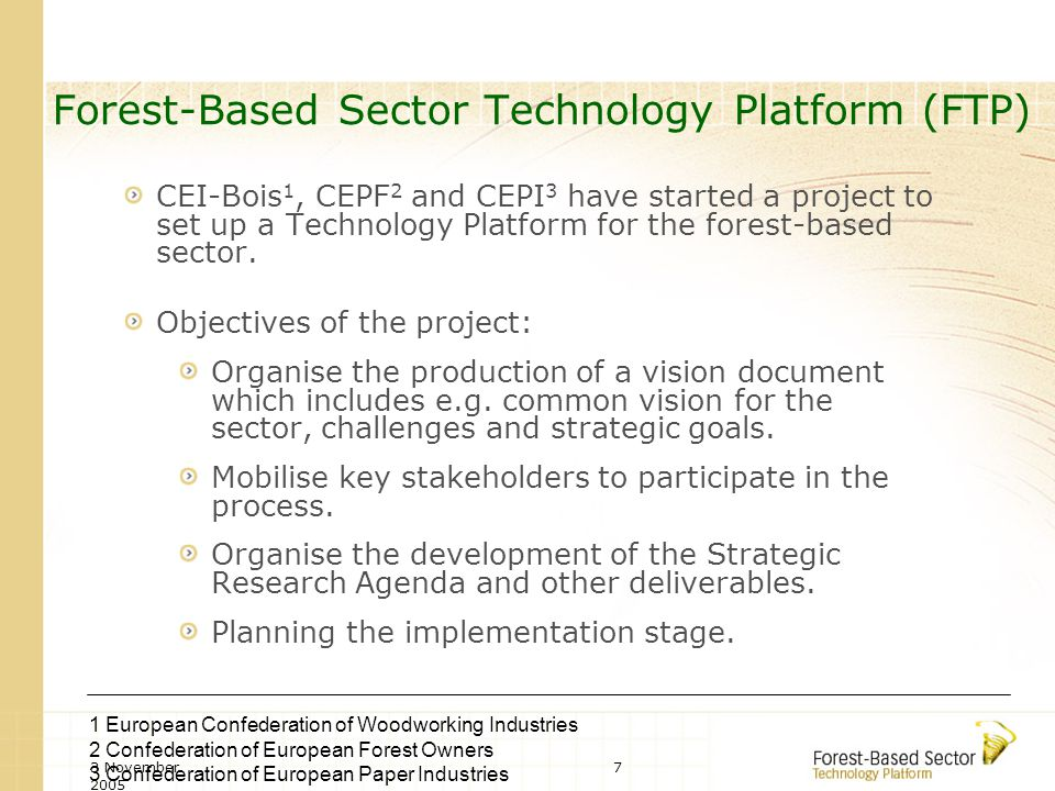 3 November 2005 8 Areas of Forest-Based Sector