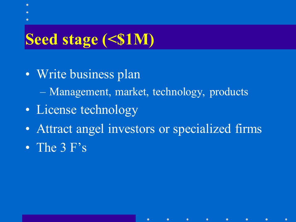 Seed stage (<$1M) Write business plan –Management, market, technology, products License technology Attract angel investors or specialized firms The 3 Fs